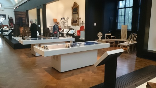 Interactive material tables in the furniture section at the V&A